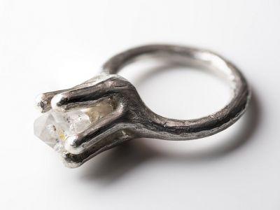 silberring-herkimer-diamond-gegossen-anna-eichlinger-schmuck-muenchen